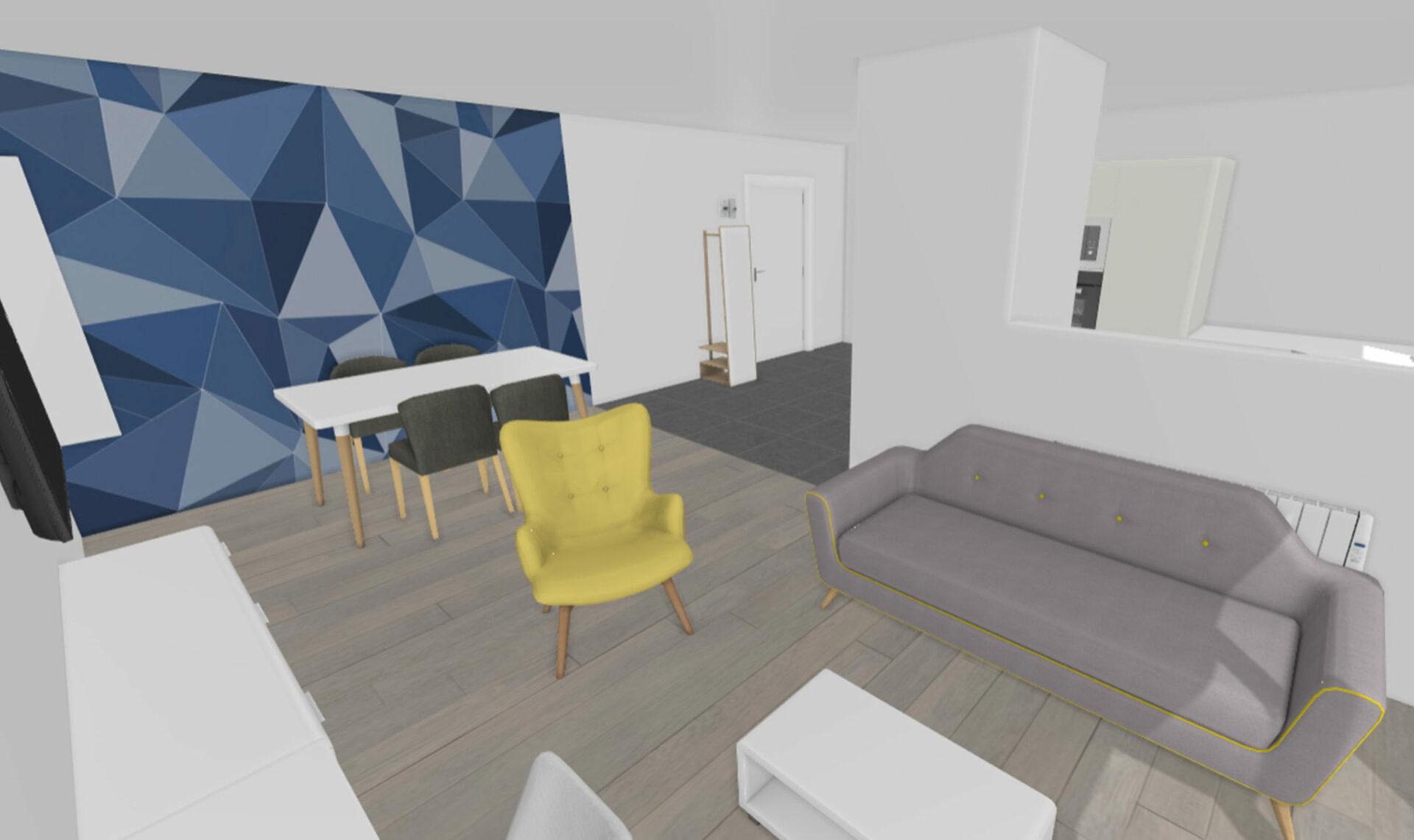 Décoratrice d'intérieur à Lyon - Appartement lyonnais graphique - Vue générale