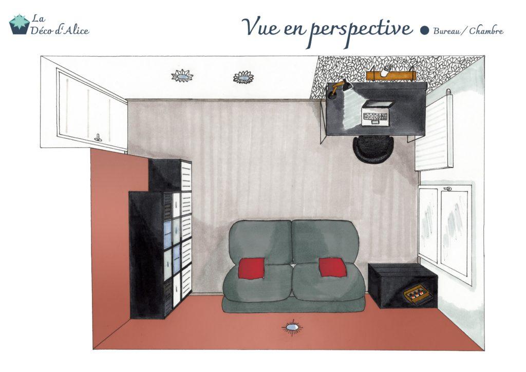 Décoratrice d'intérieur à Lyon - Vue en perspective - Bureau / Chambre d'amis terracotta