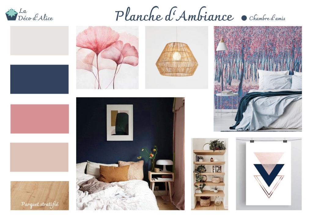 Décoratrice d'intérieur à Lyon - Planche d'ambiance - Chambre d'amis bleu nuit