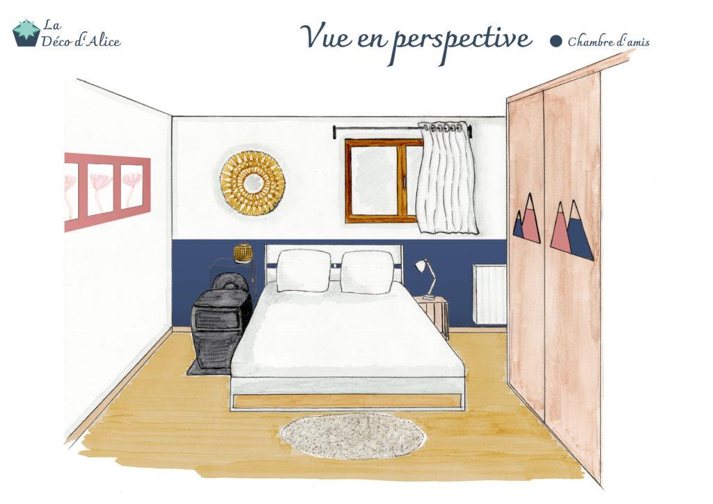 Décoratrice d'intérieur à Lyon - Vue en perspective - Chambre d'amis bleu nuit