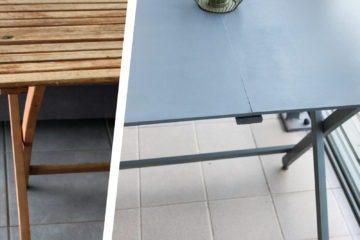 Décoratrice d'intérieur à Lyon - DIY Rénover sa table en bois de jardin - Avant après rénovation