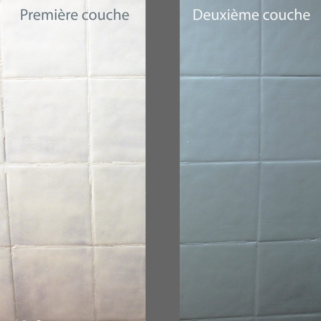 Décoratrice d'intérieur à Lyon - DIY Peindre du carrelage mural de salle de bain - Comparaison couches peinture