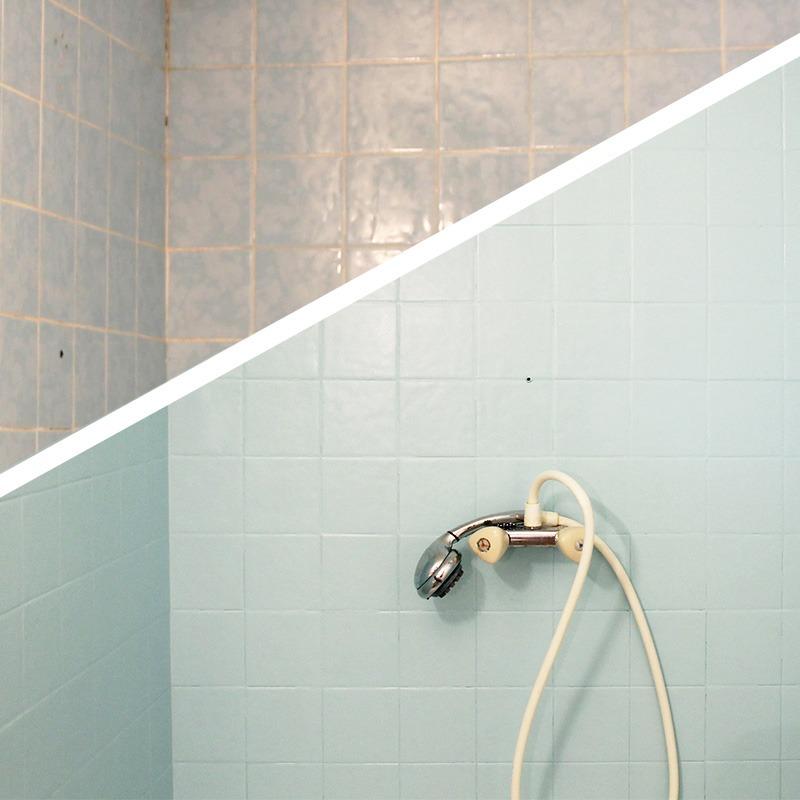 Décoratrice d'intérieur à Lyon - DIY Peindre du carrelage mural de salle de bain - Avant / après