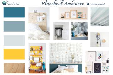 Décoratrice d'intérieur à Lyon - Planche d'ambiance - Chambre parentale bleue et jaune