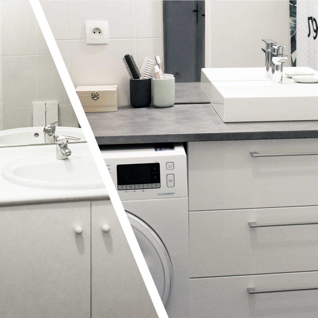 Décoratrice d'intérieur à Lyon - DIY Remplacer un meuble de salle de bain avec lave-linge intégré - Avant / après