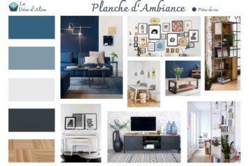 Décoratrice d'intérieur à Lyon - Planche d'ambiance - Salon industriel chic bleu gris