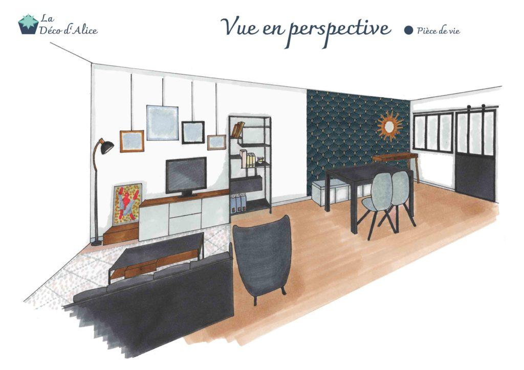 Décoratrice d'intérieur à Lyon - Vue en perspective - Salon industriel chic bleu gris