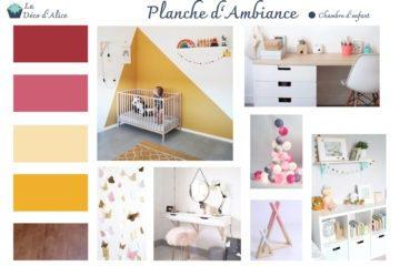 Décoratrice d'intérieur à Lyon - Chambre d'enfant rose fuchsia - Planche d'ambiance