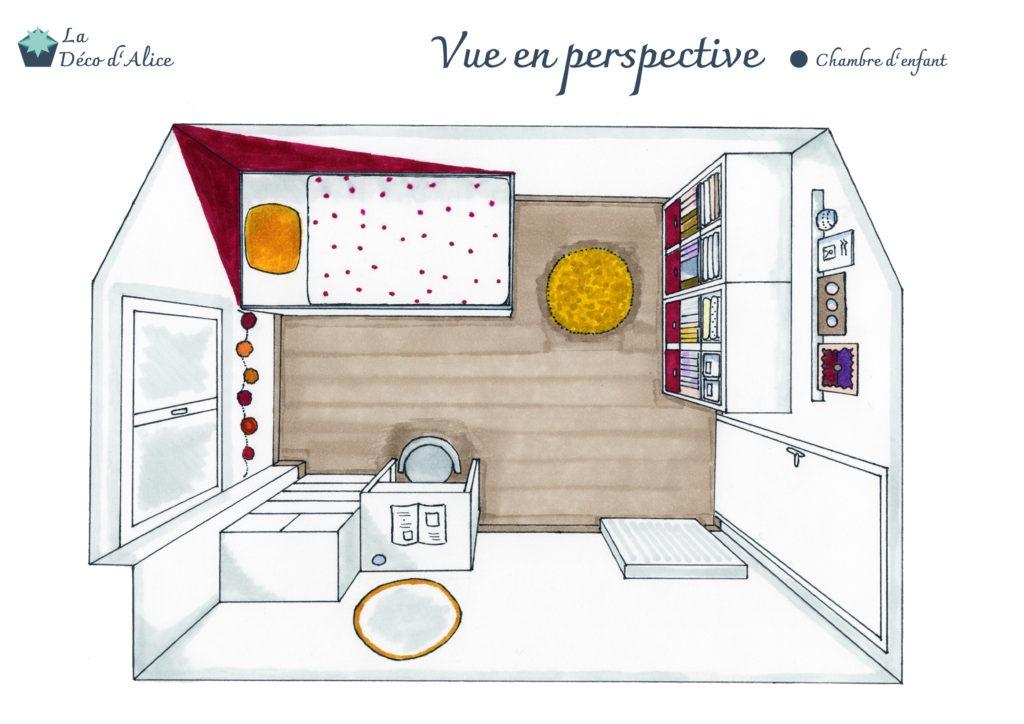 Décoratrice d'intérieur à Lyon - Chambre d'enfant rose fuchsia - Vue en perspective