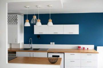Décoratrice d'intérieur à Lyon - Cuisine scandinave bleue