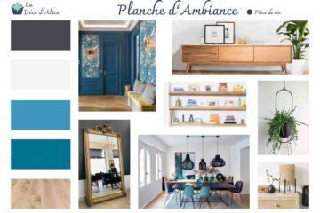 Décoratrice d'intérieur à Lyon - Planche d'ambiance - Salon rétro bleu et doré