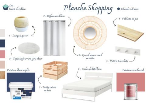 Planche Shopping - Chambre d'amis bleu nuit