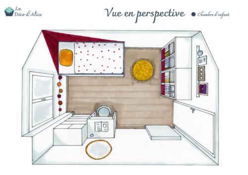 Chambre d'enfant rose fuchsia - Vue en perspective