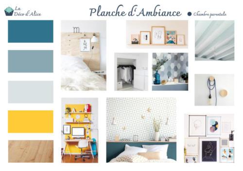 Planche d'ambiance - Chambre parentale bleue et jaune