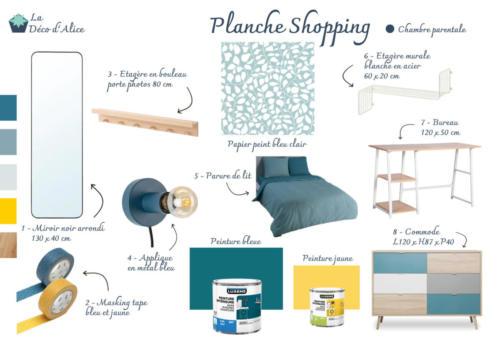 Planche shopping - Chambre parentale bleue et jaune