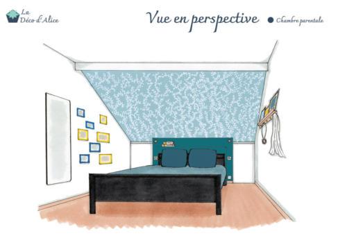 Vue en perspective - Chambre parentale bleue et jaune