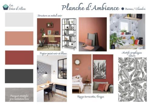 Planche d'ambiance - Bureau / Chambre d'amis terracotta
