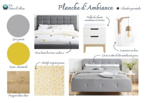 Planche d'ambiance - Chambre parentale grise jaune
