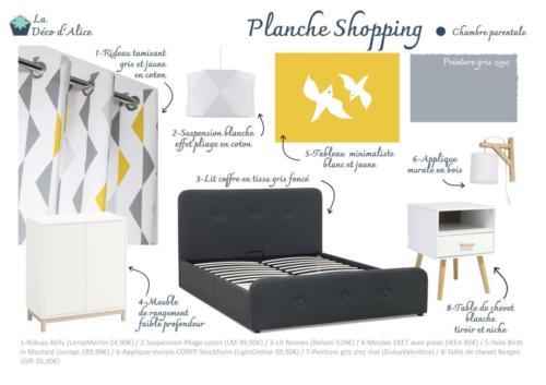 Planche shopping - Chambre parentale grise jaune