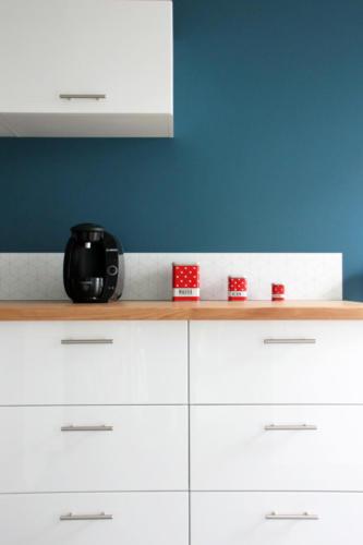Salon et cuisine scandinave rénové - Meubles de cuisine - Après