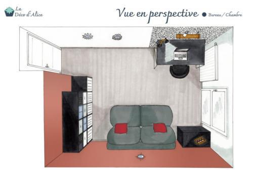 Vue en perspective - Bureau / Chambre d'amis terracotta