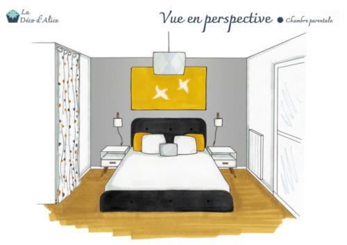 Vue en perspective - Chambre parentale grise jaune