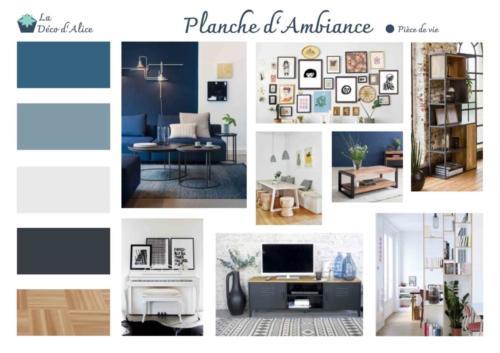 Planche d'ambiance - Salon industriel chic bleu gris