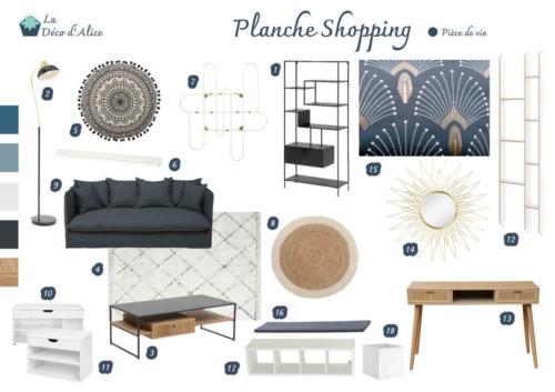 Planche shopping- Salon industriel chic bleu gris