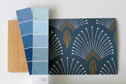 Nuancier - Salon industriel chic bleu gris