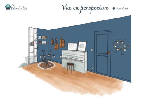 Vue en perspective - Salon industriel chic bleu gris
